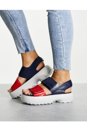 Melissa Fila by chunky sandals with contrast sole in navy