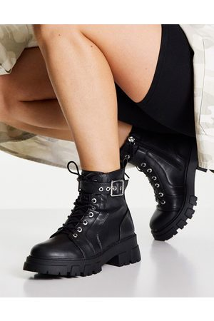 Pimkie Chunky sole lace up biker boot in black