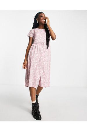 Wednesday's Girl Midi smock dress in smudge spot print-Multi