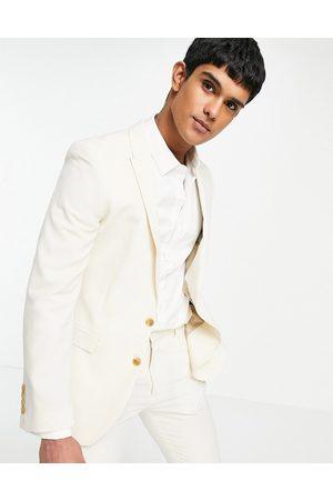 ASOS Wedding super skinny suit jacket in stone crosshatch-Neutral