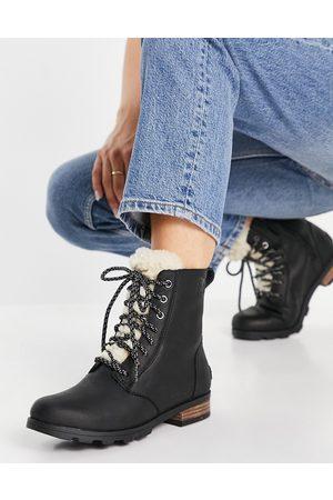 sorel Emelie short lace up cozy boots in black