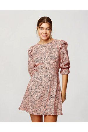 Miss Selfridge Long sleeve tea dress in pink marble print