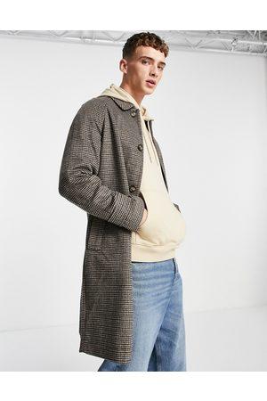 ASOS Wool mix overcoat in brown check-Grey
