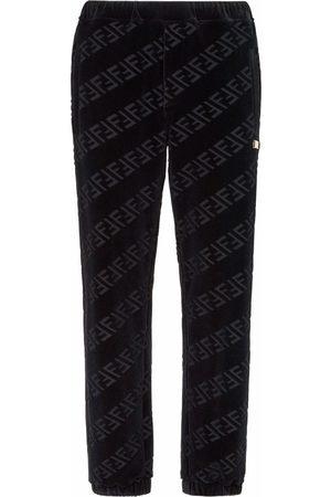 Fendi FF-motif velvet track pants