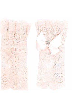 MONNALISA Handschuhe - TEEN lace bow-embellished arm warmers