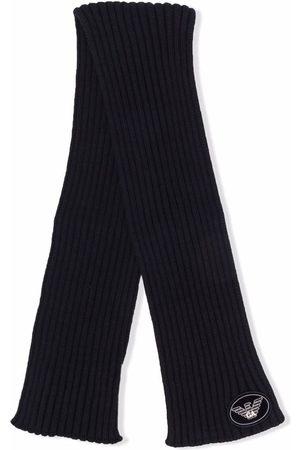 Emporio Armani Schals - Logo-patch ribbed knit scarf
