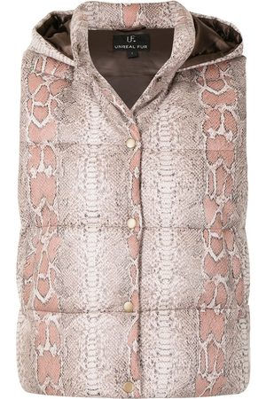 Unreal Fur Damen Westen - Python-print hooded gilet