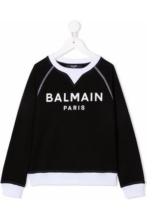 Balmain Jungen Shirts - Logo-print long-sleeved jumper