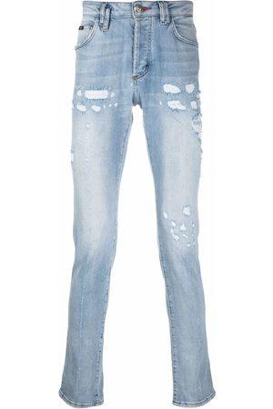 Philipp Plein Herren Straight - Super Straight stonewash distressed jeans
