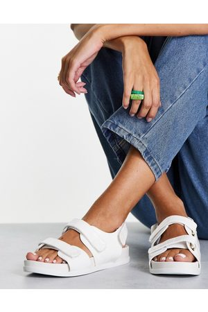 ASOS Factually sporty sandals in white croc