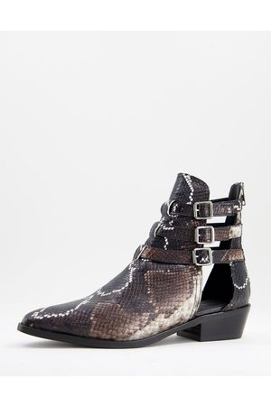 AllSaints All Saints naomi strappy pointed ankle boots in black leather-Multi