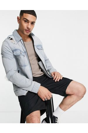 ASOS Zip through denim jacket with rips in mid wash-Blue