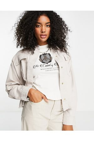 River Island Denim cropped workers jacket in cream-White