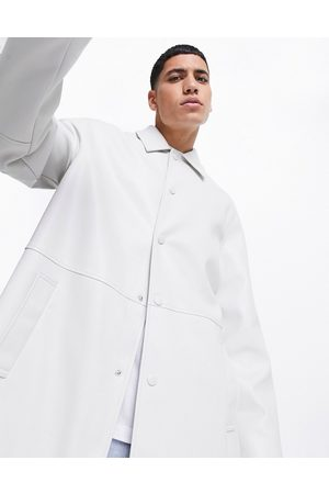 ASOS Faux leather longline trench coat in stone-Neutral