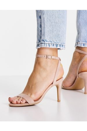 New Look Strappy suedette heeled sandal in oatmeal-Neutral