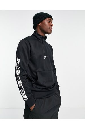 Nike Repeat taping 1/4 zip polyknit sweat in black