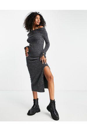 River Island Bardot midi jumper dress in dark grey