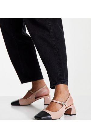 ASOS Wide Fit Syon mary jane mid heeled shoes in -Neutral