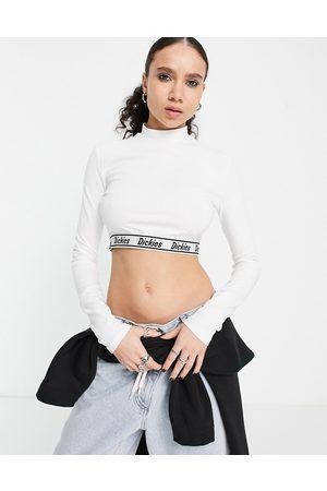 Dickies Petersburg cropped long sleeve t-shirt in white