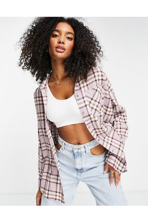 ASOS Long sleeve boyfriend shirt in purple and brown check-Multi