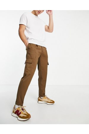 Topman Tapered twill cargo trousers in brown-Green