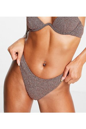 South Beach High leg bikini bottom in rose metallic