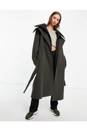 ASOS Oversized hybrid quilted coat in olive-Green
