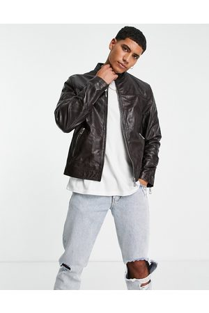ASOS Leather racer jacket in brown