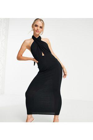 ASOS ASOS DESIGN Petite halter cross front maxi dress in black