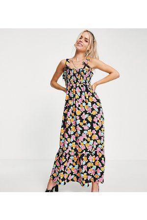 ASOS ASOS DESIGN Petite tie strap shirred bust maxi dress in black bright floral print-Multi