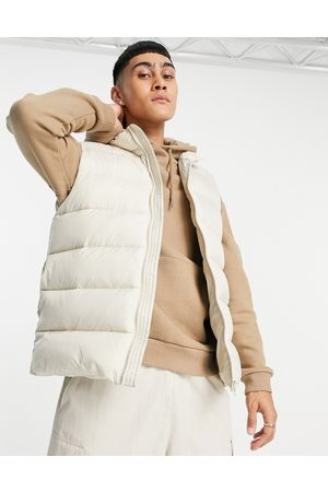 ASOS Puffer gilet with contrast lining in ecru-Neutral