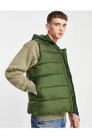 ASOS Puffer gilet with hood in green