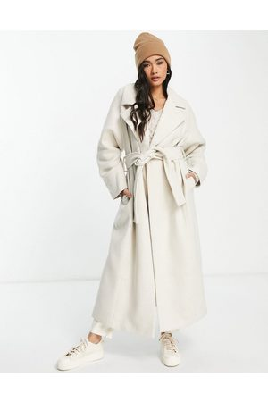 ASOS Longline double breasted belted wool mix coat in oatmeal-White