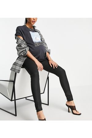 ASOS ASOS DESIGN Maternity high rise ridley 'skinny' jeans in coated black