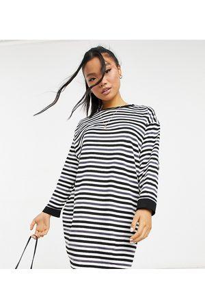 ASOS ASOS DESIGN Petite oversized long sleeve t-shirt dress in charcoal black and white stripe-Multi