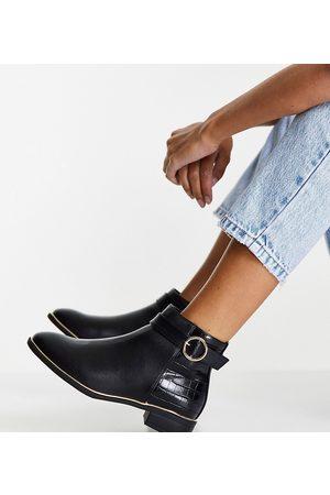 Miss KG Wide fit haylee buckle chelsea boots in black
