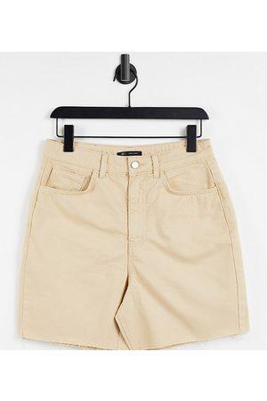 Reclaimed Inspired mom denim shorts in sand-Neutral