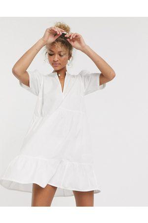 ASOS Cotton tiered mini smock dress in white