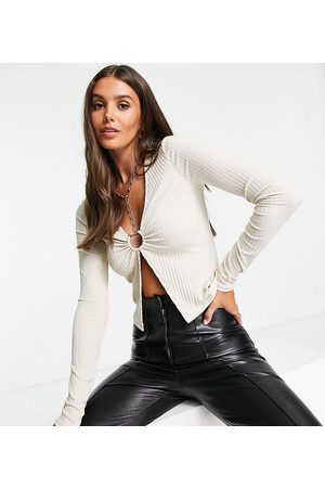 ASOS Tall long sleeve rib top with metal detail in -Neutral