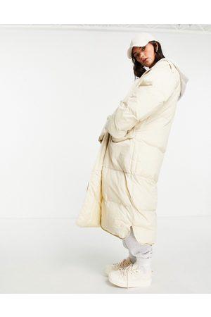 ASOS Jersey hooded longline puffer jacket in stone-Neutral