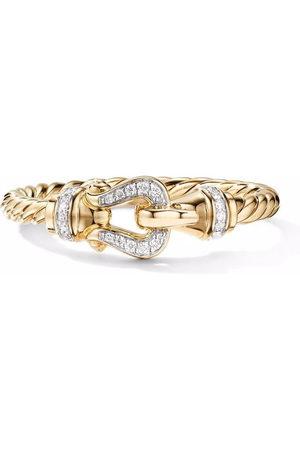 David Yurman 18kt yellow Petite Buckle diamond ring