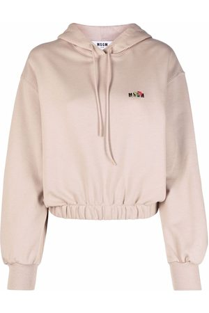 Msgm Embroidered-logo cotton hoodie