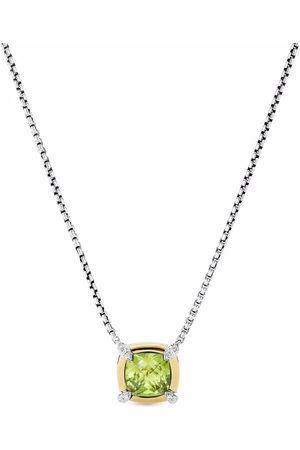 David Yurman 18kt yellow gold and sterling silver petite Châtelaine peridot and diamond pendant necklace