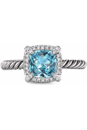 David Yurman Sterling silver Châtelaine blue topaz and diamond ring