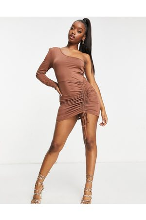 Aria Cove Recycled one long sleeve ruched side detail mini dress in chocolate-Brown