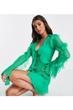 ASOS ASOS DESIGN Tall bias cut ruffle shirt mini dress-Green