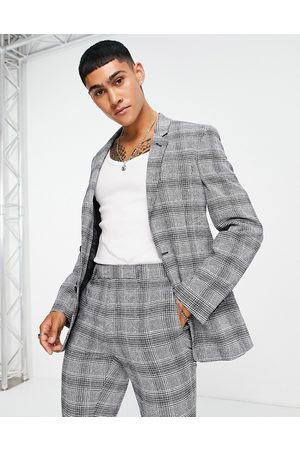 ASOS Super skinny suit jacket in grey check