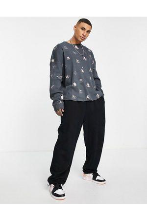 ASOS Oversized long sleeve t-shirt in acid wash rib-Black
