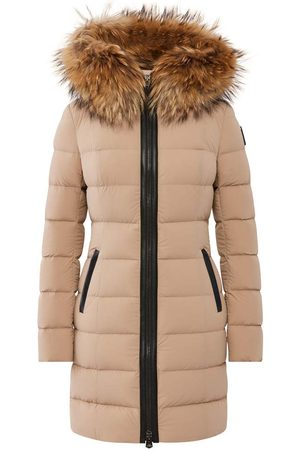 Mackage Calla Stretch Light Down Coat with Natural Fur Trim in Camel