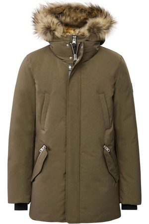 Mackage Herren Parkas - Edward 2-in-1 Down Parka with Hooded Bib and Natural Fur in Army